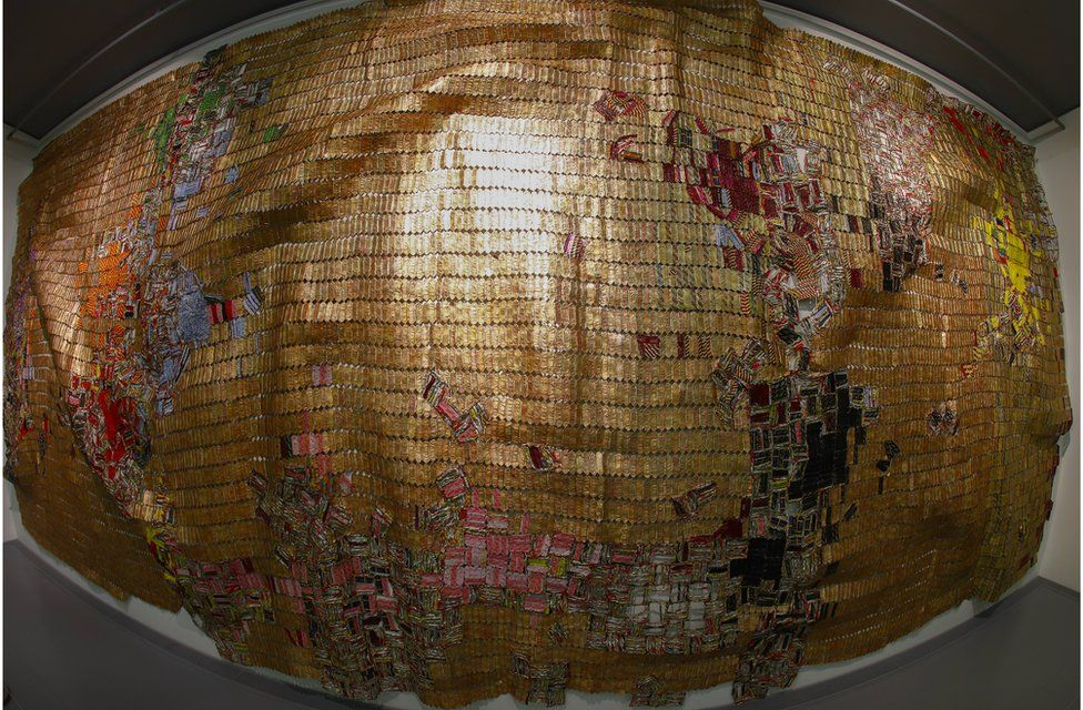 "An art work by Ghana artist El Anatsui titled ""Dissolving Continents"" using Aluminium and Copper at the Zeitz Museum of Contemporary Art Africa (Zeitz MOCAA)."