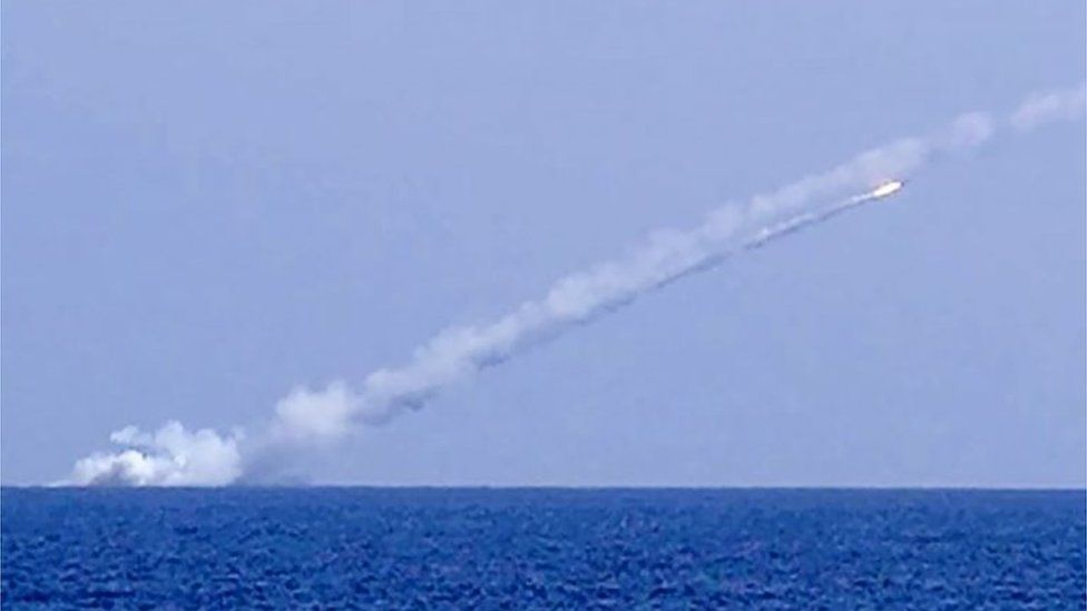 Cruise missile fired from Russian ship (Russian Defence Ministry handout)