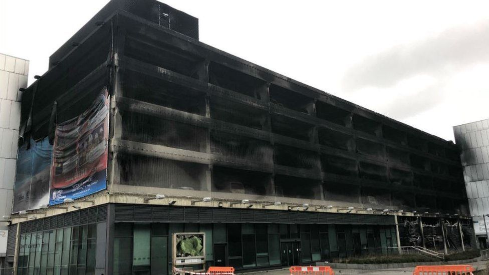 Car park fire damage