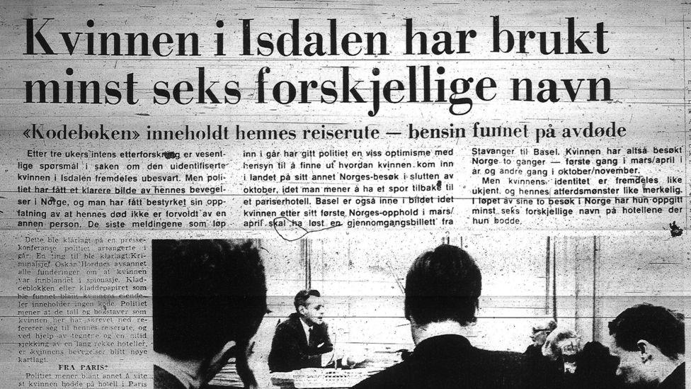 """Este titular del Bergens Tidende del 23 de diciempre de 1970 dice: """"La mujer de Isdalen tenía al menos seis diferentes alias""""."""