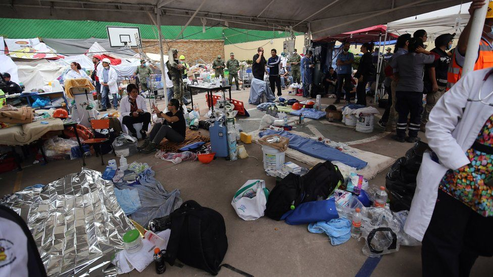 A makeshift hospital was built – staffed largely by military doctors who were prepared to treat any survivors that might be extracted from the rubble, Mexico City, 20 September 2017
