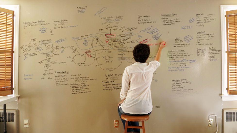 Jen writes diagrams on a whiteboard