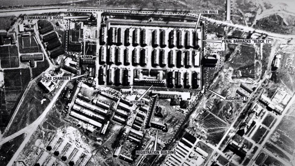 Aerial view of Auschwitz in WW2