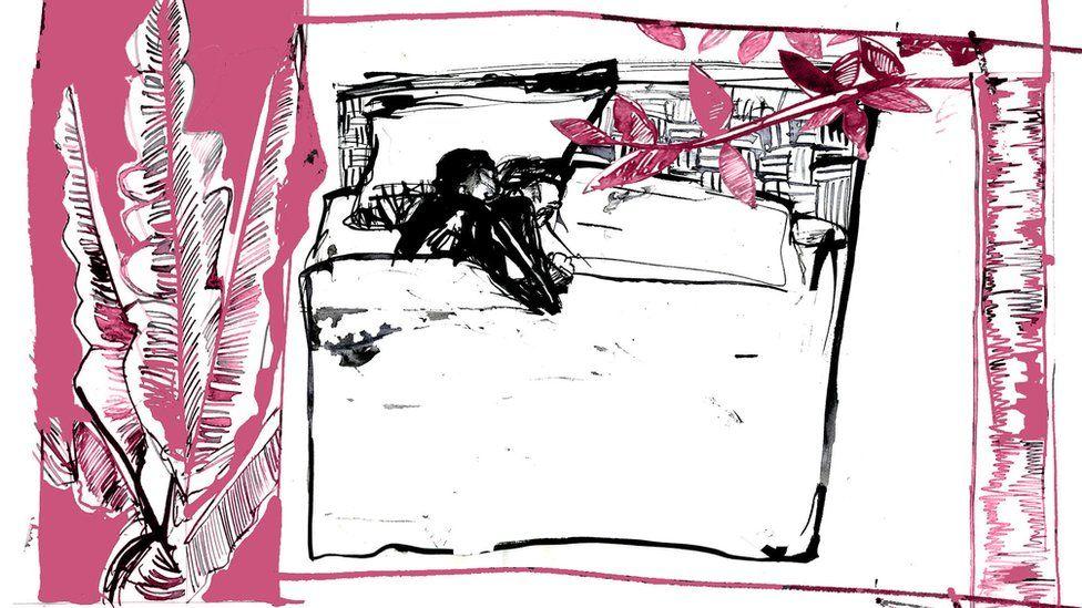 Ilustração na qual um casal está na cama