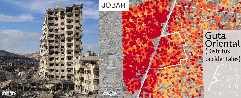 Mapa muestra el daño en Jobar, Guta Oriental