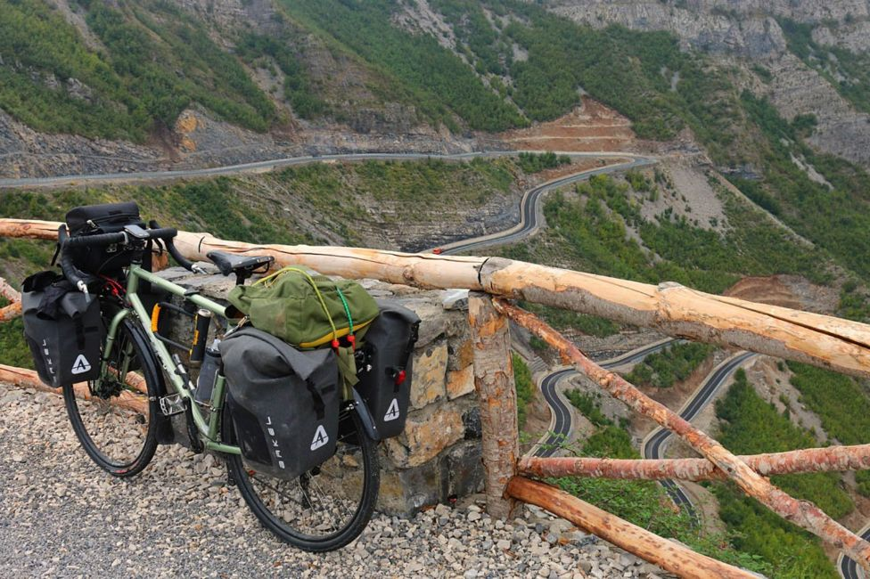 Rebecca Lowe's bike on the Montenegro-Albania border