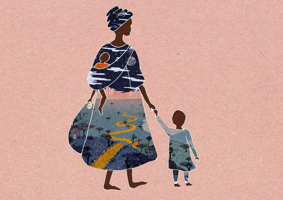 Ilustração de mãe com duas crianças