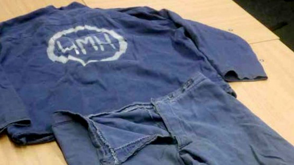 Uniform of an inmate executed in Belarus and that was returned to the family