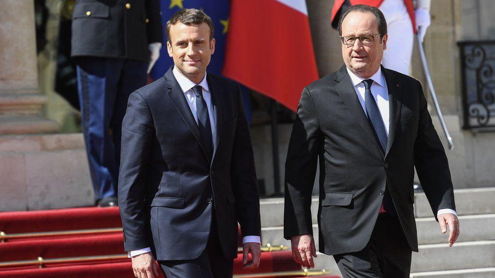 Эммануэль Макрон и Франсуа Олланд