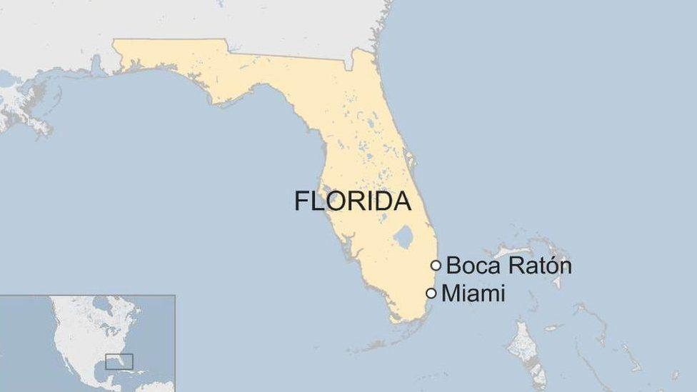mapa de Florida donde aparecen Miami y Boca Raton