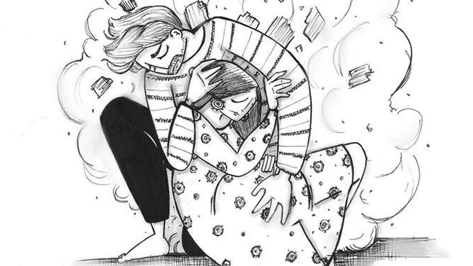 Na ilustração, homem protege mulher com o corpo contra estilhaços