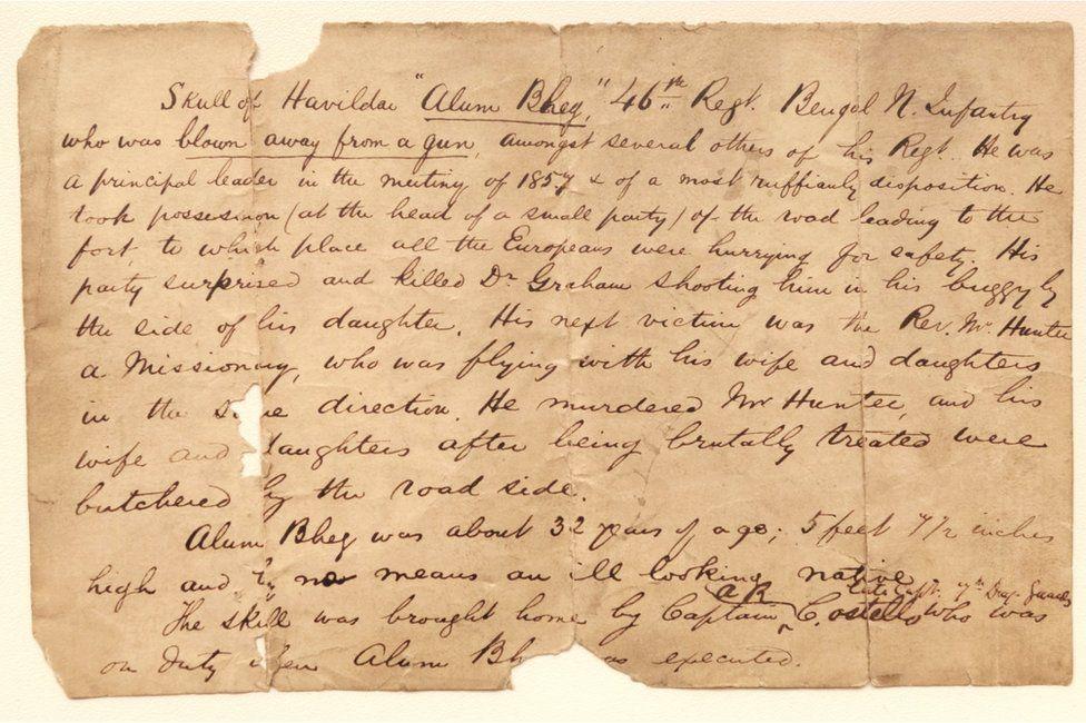 The handwritten letter that tells the story of the skull