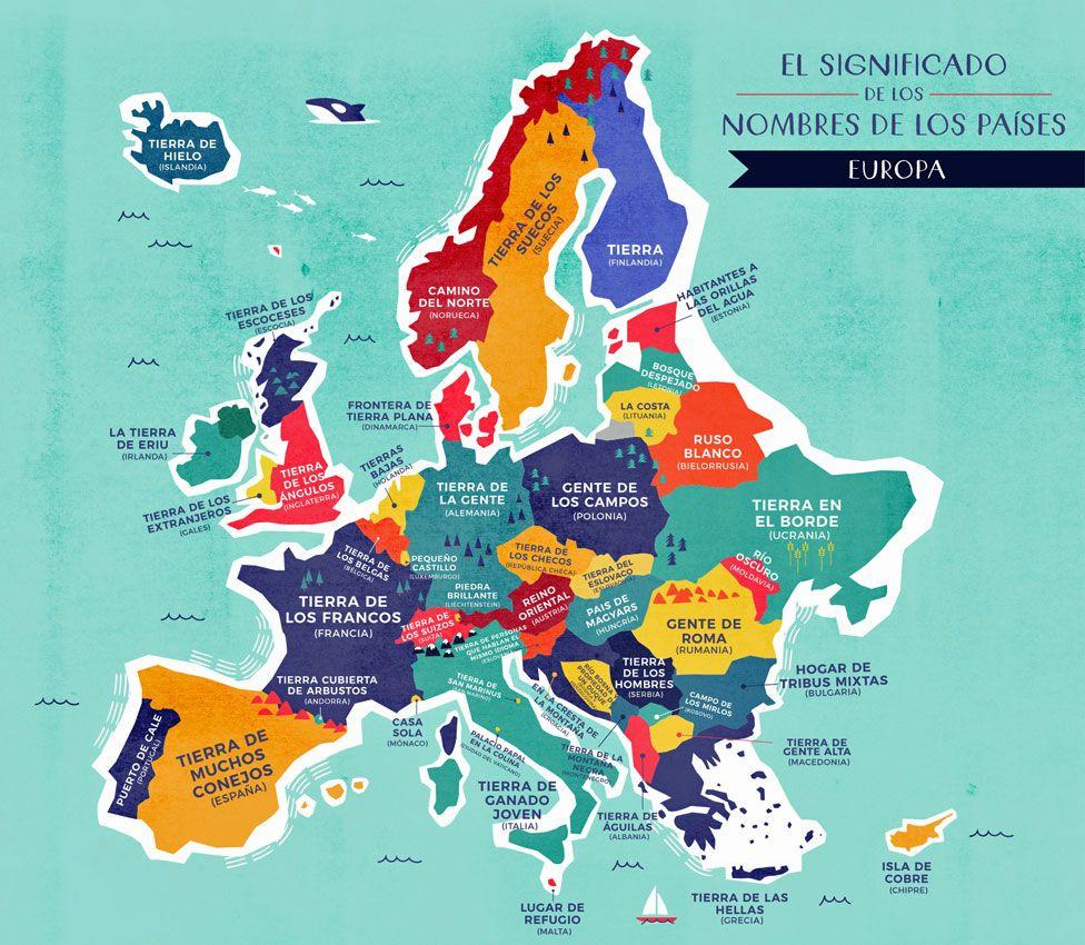Mapa Europa con nombres traducidos