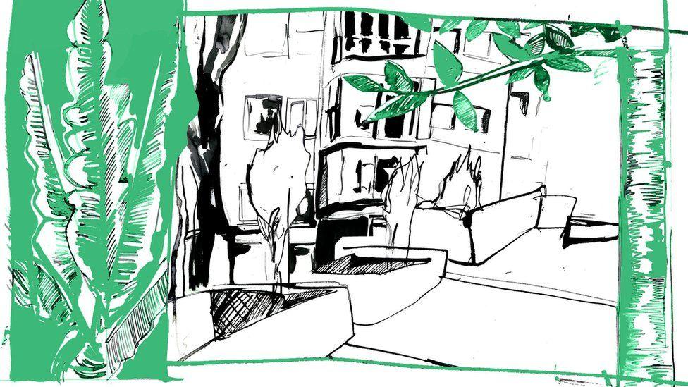 Illustration depicting Chochi's flat