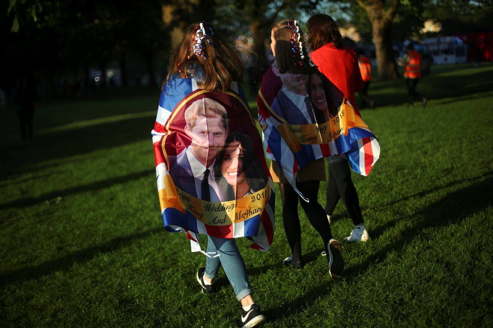 Royal fans gather ahead of wedding of Britain's Prince Harry to Meghan Markle in Windsor, Britain, 19 May 2018.