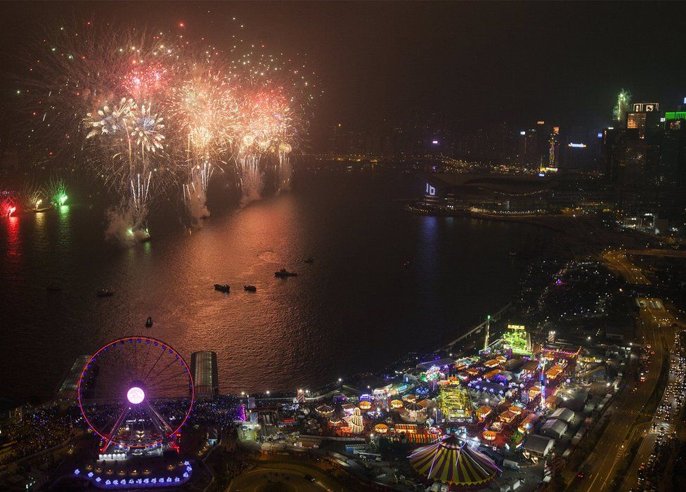 Fireworks light up Victoria Harbour to celebrate the arrival of the new year 2018 in Hong Kong, China, 01 January 2018.