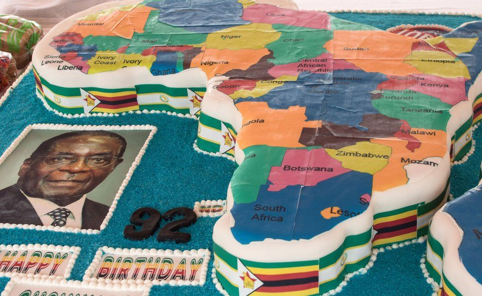 President Robert Mugabe's birthday cake in the shape of the map of Africa during celebrations marking his birthday at the Great Zimbabwe monument in Masvingo - 27 February 2016