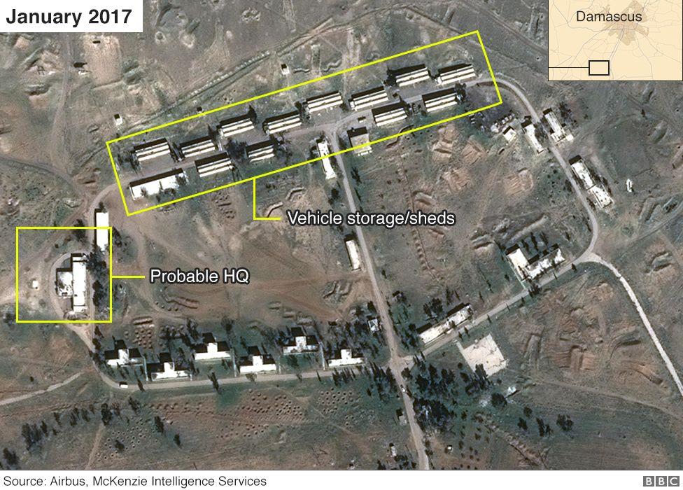 Imagem de satélite do composto na Síria