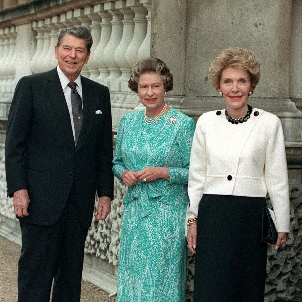 Queen Elizabeth II Centre With US President Ronald Reagan And His Wife Nancy At