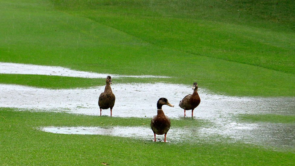Heavy rainfall has caused play to be suspended prior to the first round of the MCB Tour Championship played at the Legend Course, Constance Belle Mare Plage on December 9, 2016 in Poste de Flacq, Mauritius.