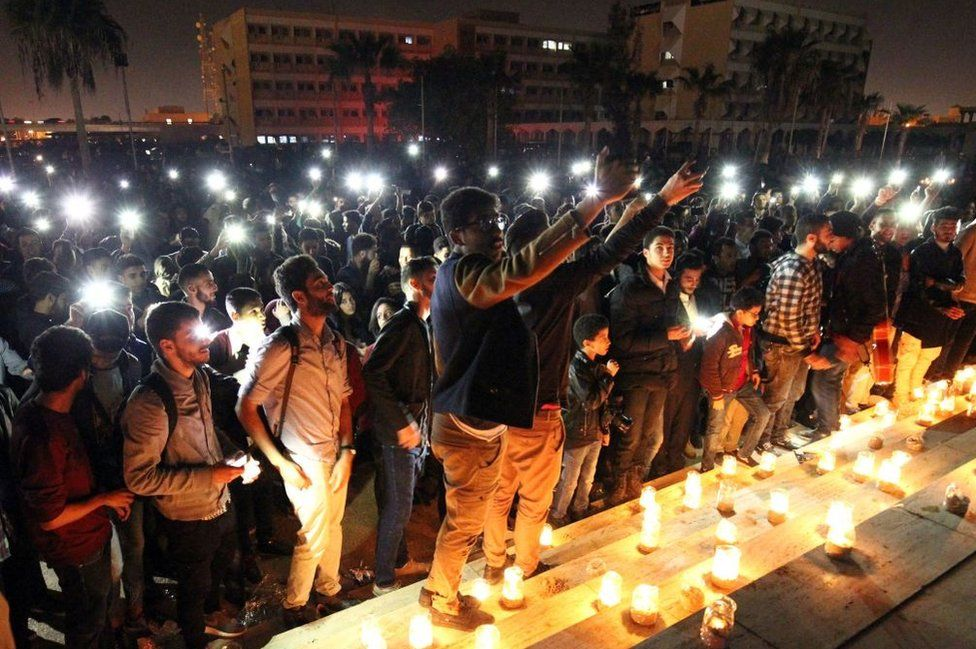 In Benghazi, Libyans held a candlelit concert marking Earth Hour on Saturday, as part of a global campaign to raise awareness of climate change.
