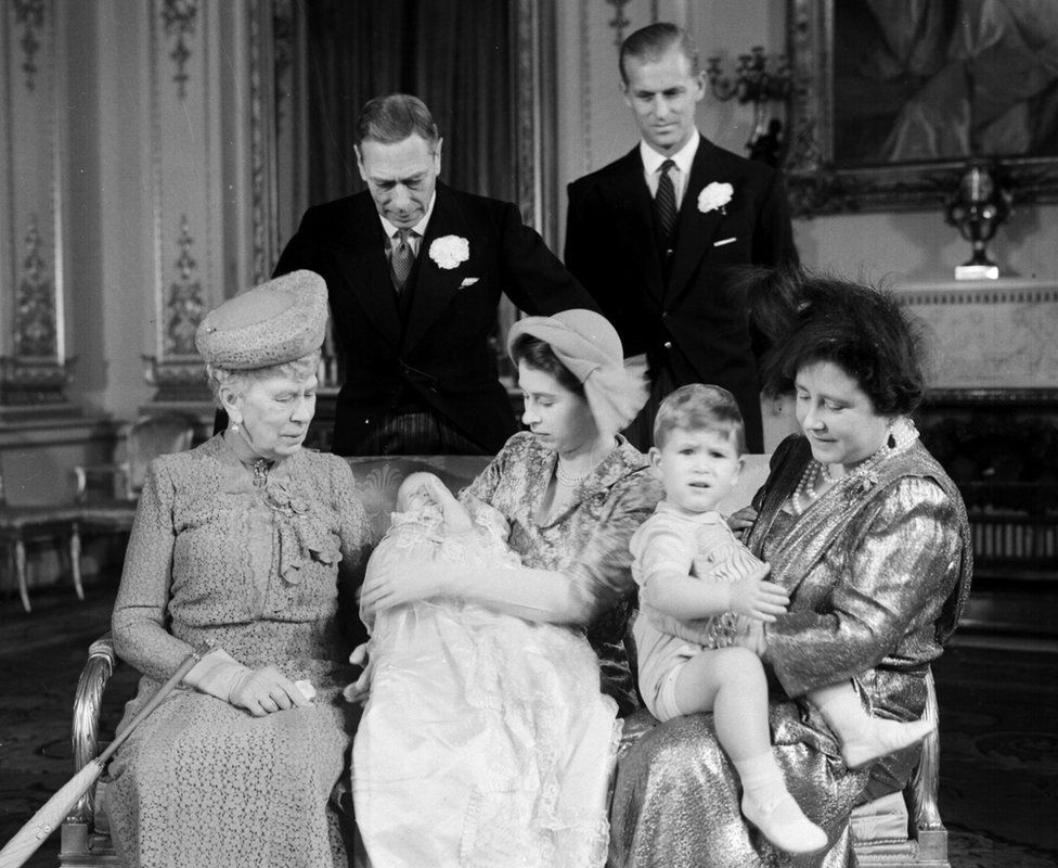 Princess Elizabeth, the Duke of Edinburgh, Prince Charles, Princess Anne, Queen Elizabeth The Queen Mother, King George VI and Mary of Teck