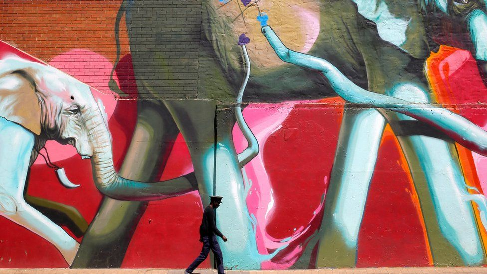 "A man walks past a huge graffiti artwork depicting elephants in downtown Johannesburg, South Africa, 10 October 2017. The artwork by ""Falko"" is part of the newly formed graffiti tours that take people through the streets of the city to introduce them to the graffiti and who painted them."