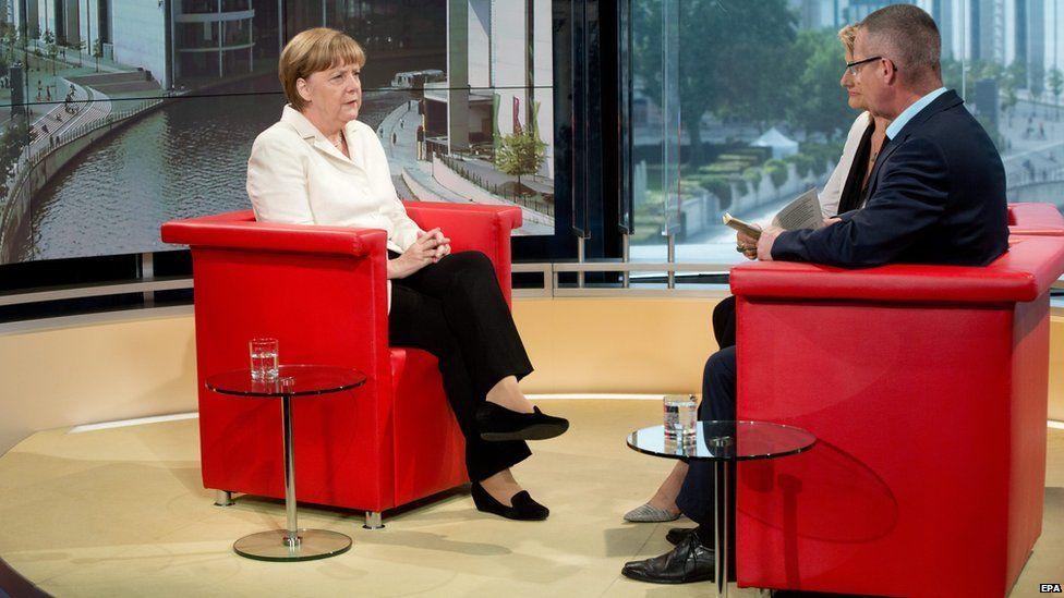 Angela Merkel speaks to ARD on 19 July 2015