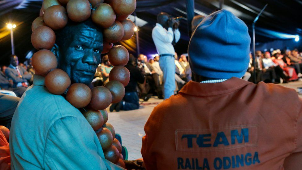 Supporter of the Kenya's opposition coalition the National Super Alliance Party (NASA) at an event to launch its election manifesto in Nairobi, Kenya, 27/06/2017
