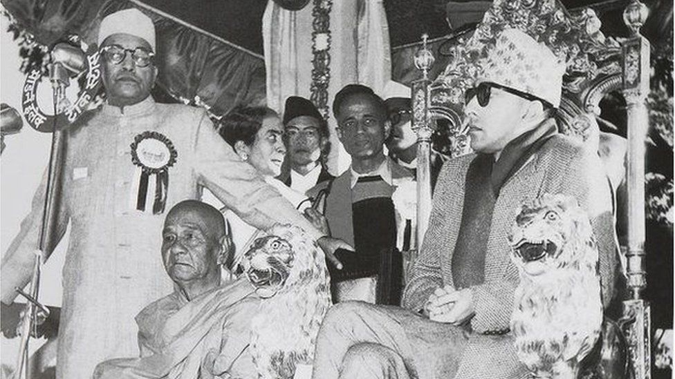 Dr Ambedkar, left, at the Fourth Conference of the World Fellowships of Buddhists, held in 1956 in Nepal