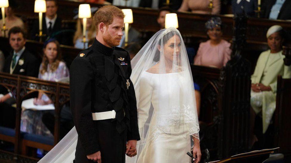 El príncipe Harry y Meghan Markle durante la ceremonia.