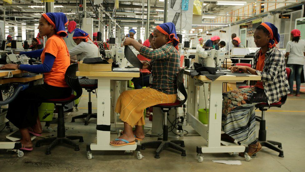 Workers sew clothes inside the Indochine Apparel PLC textile factory in Hawassa Industrial Park in Southern Nations, Nationalities and Peoples region, Ethiopia November 17, 2017
