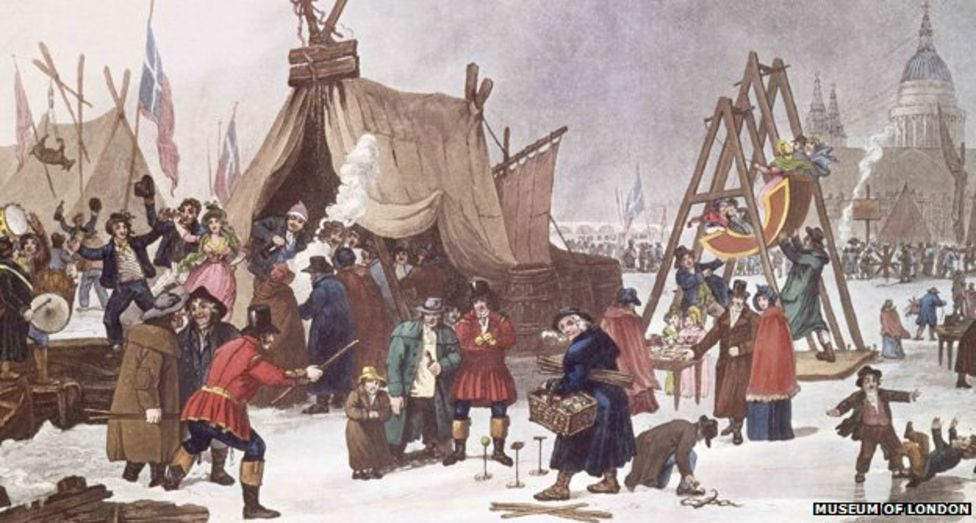 Image of a London Frost Fair with Tents and Swingboats from the Museum of London