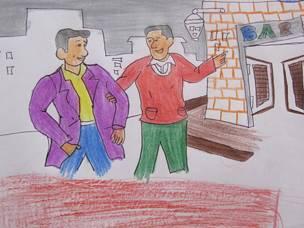 Dibujo de dos amigos yendo a un bar