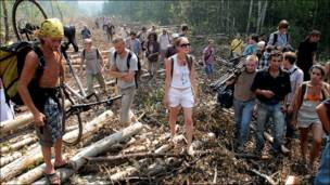 Активисты в Химкинском лесу