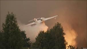 Самолет сбрасывает груз воды над лесом