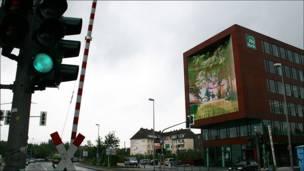 Fachada mediática en Munster, Alemania.