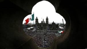 Imagen de la plaza del Zócalo, en Ciudad de México, epicentro de los actos