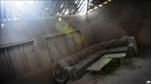 Las cenizas expulsadas por la erupción del volcán Merapi, en Indonesia, cubren la sala de una casa en Kinahrejo.