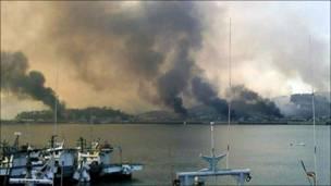 योंग्पेयोंग टापू पर धुआं