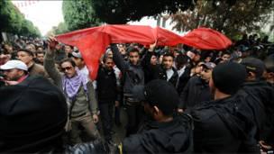 Акция протеста в Тунисе