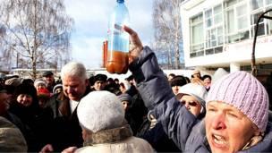 Протест в городе Верея в Подмосковье