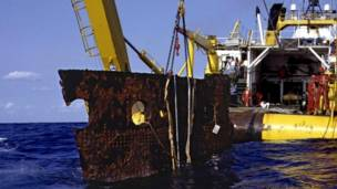"""Часть корпуса """"Титаника"""", поднятая из воды"""