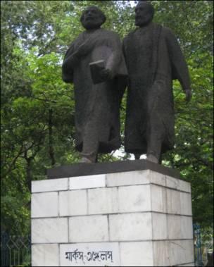 Marx and Engel statues in Kolkatta