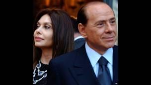Berlusconi con su exesposa Veronica Lario