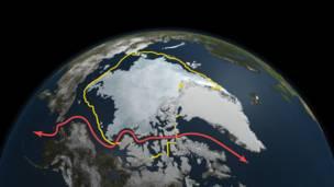 Polo Norte – A foto tirada no início de outubro mostra a calota de gelo do Ártico em expansão, diante da aproximação do inverno no hemisfério norte.