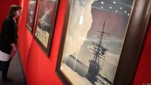 exhibición de fotos y documentos de la expedición antártica de Scott