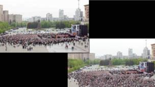 Харьковская площадь во время литургии
