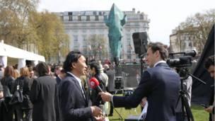 Интервью перед открытием памятника.