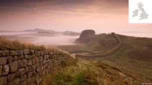 Hadrian's Wall, near Housesteads, Northumberland, England.